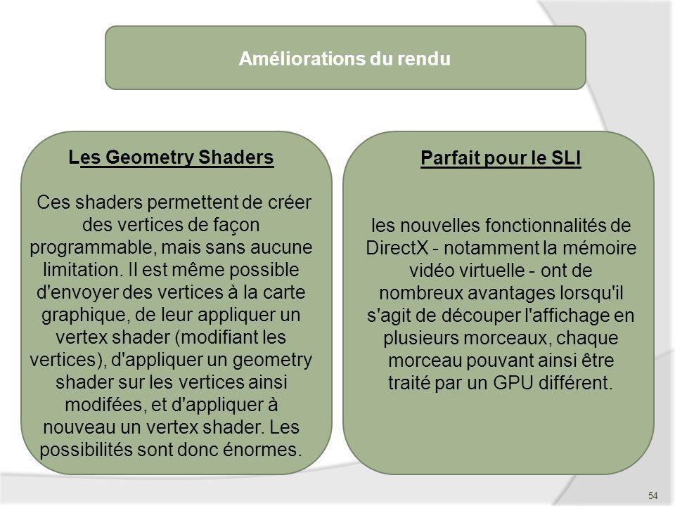 Améliorations du rendu Les Geometry Shaders Ces shaders permettent de créer des vertices de façon programmable, mais sans aucune limitation. Il est mê