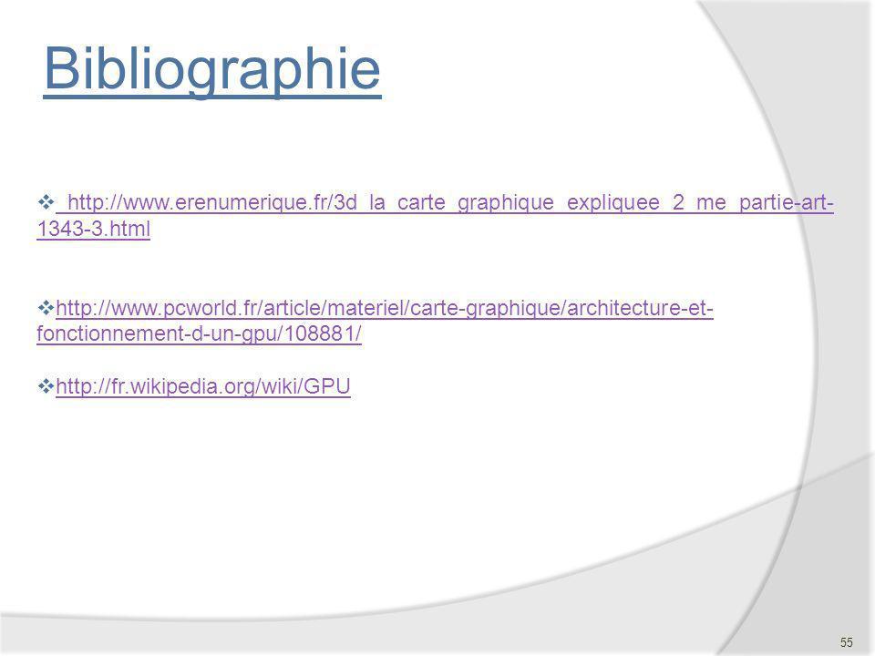 Bibliographie http://www.erenumerique.fr/3d_la_carte_graphique_expliquee_2_me_partie-art- 1343-3.html http://www.erenumerique.fr/3d_la_carte_graphique