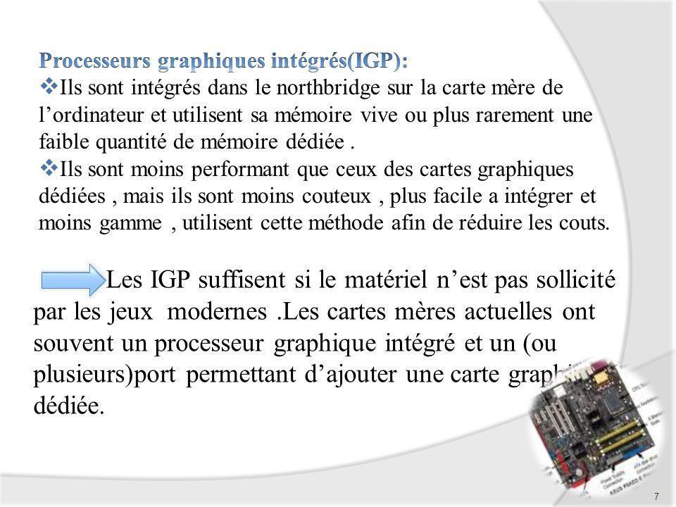 7 Les IGP suffisent si le matériel nest pas sollicité par les jeux modernes.Les cartes mères actuelles ont souvent un processeur graphique intégré et