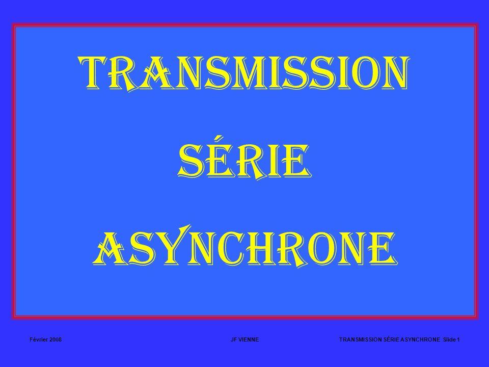 Février 2008JF VIENNETRANSMISSION SÉRIE ASYNCHRONE Slide 1 TRANSMISSION SÉRIE ASYNCHRONE