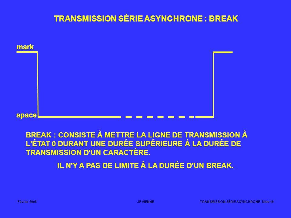 Février 2008JF VIENNETRANSMISSION SÉRIE ASYNCHRONE Slide 16 TRANSMISSION SÉRIE ASYNCHRONE : BREAK mark space BREAK : CONSISTE À METTRE LA LIGNE DE TRA