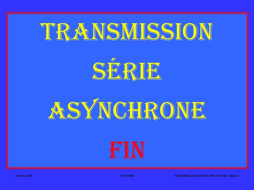 Février 2008JF VIENNETRANSMISSION SÉRIE ASYNCHRONE Slide 23 TRANSMISSION SÉRIE ASYNCHRONE FIN