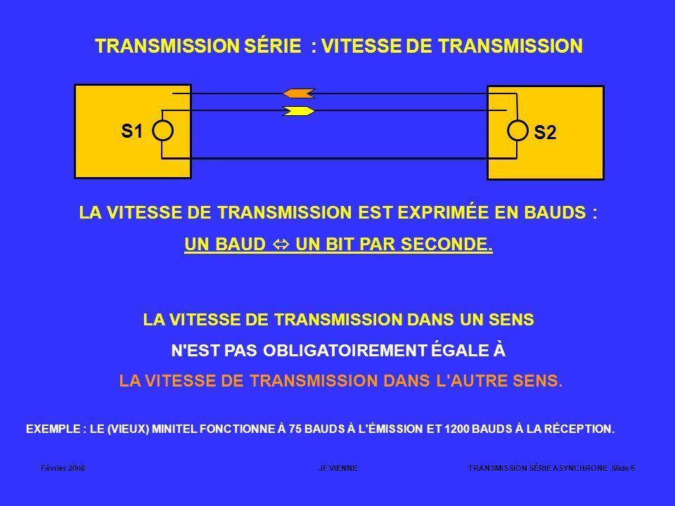 Février 2008JF VIENNETRANSMISSION SÉRIE ASYNCHRONE Slide 5 S1 S2 TRANSMISSION SÉRIE : VITESSE DE TRANSMISSION LA VITESSE DE TRANSMISSION EST EXPRIMÉE
