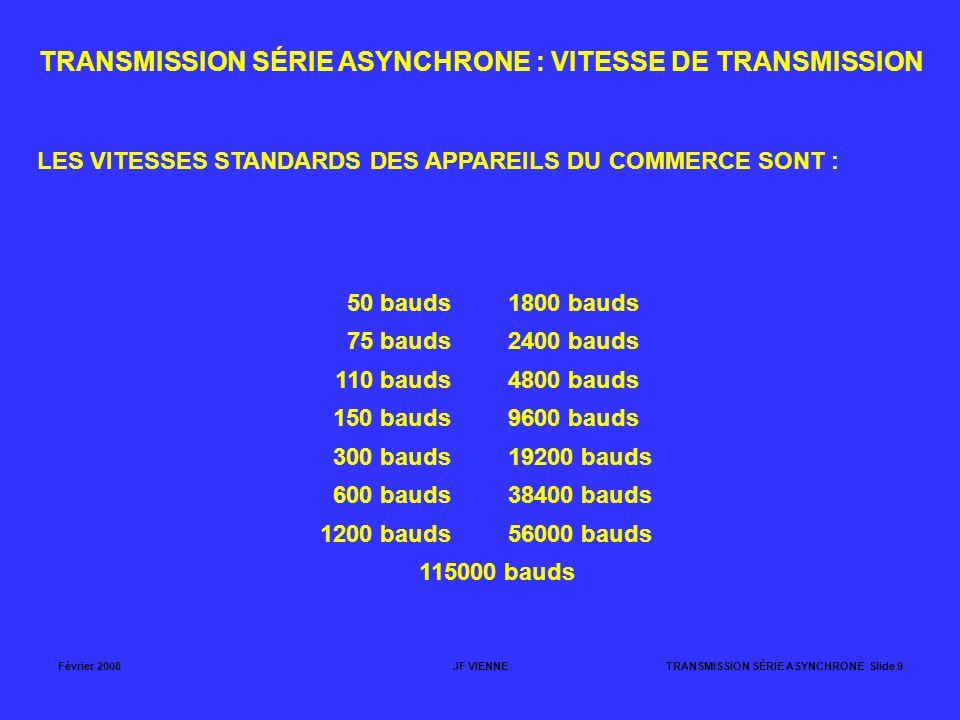 Février 2008JF VIENNETRANSMISSION SÉRIE ASYNCHRONE Slide 9 TRANSMISSION SÉRIE ASYNCHRONE : VITESSE DE TRANSMISSION LES VITESSES STANDARDS DES APPAREIL