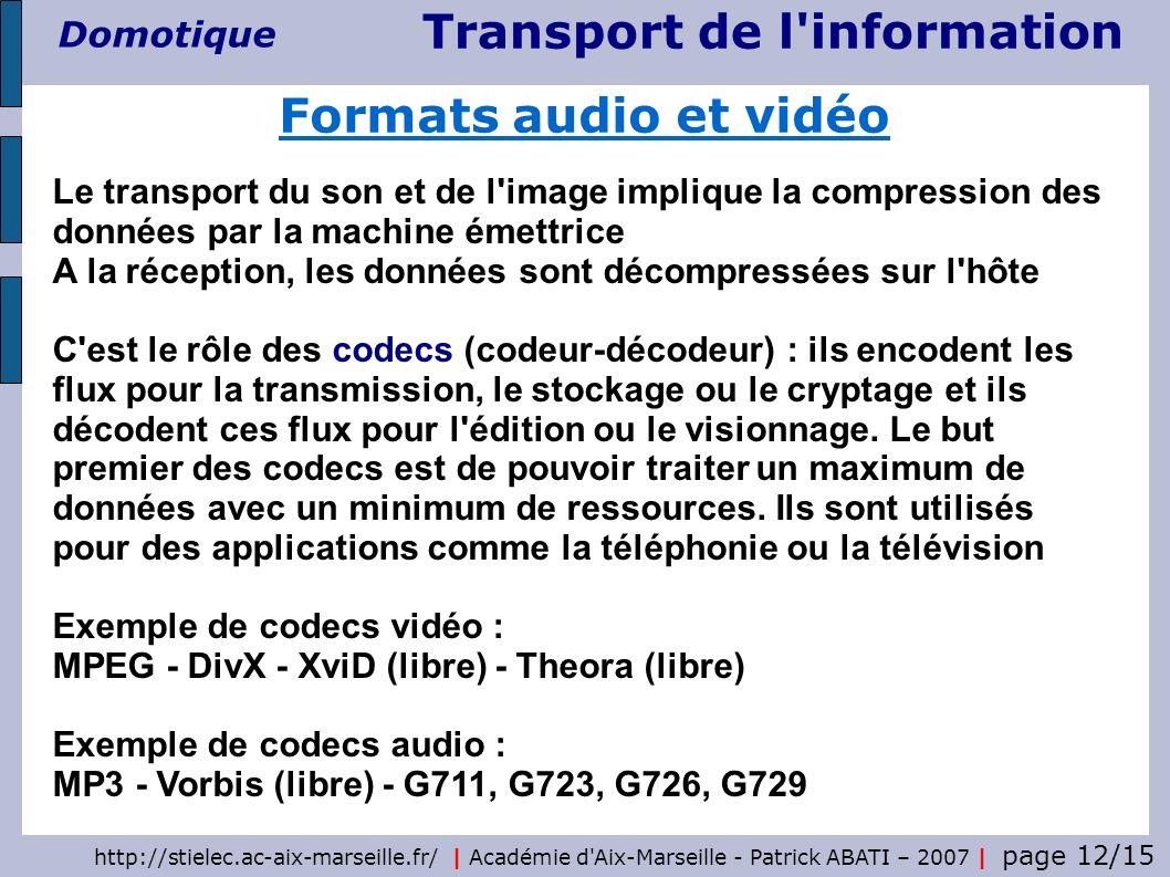 Transport de l'information Domotique http://stielec.ac-aix-marseille.fr/ | Académie d'Aix-Marseille - Patrick ABATI – 2007 | page 12/15 Formats audio