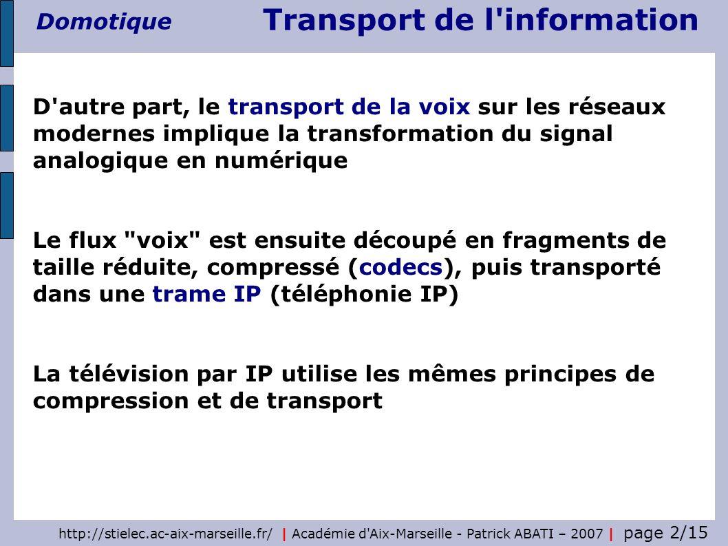 Transport de l'information Domotique http://stielec.ac-aix-marseille.fr/ | Académie d'Aix-Marseille - Patrick ABATI – 2007 | page 2/15 D'autre part, l