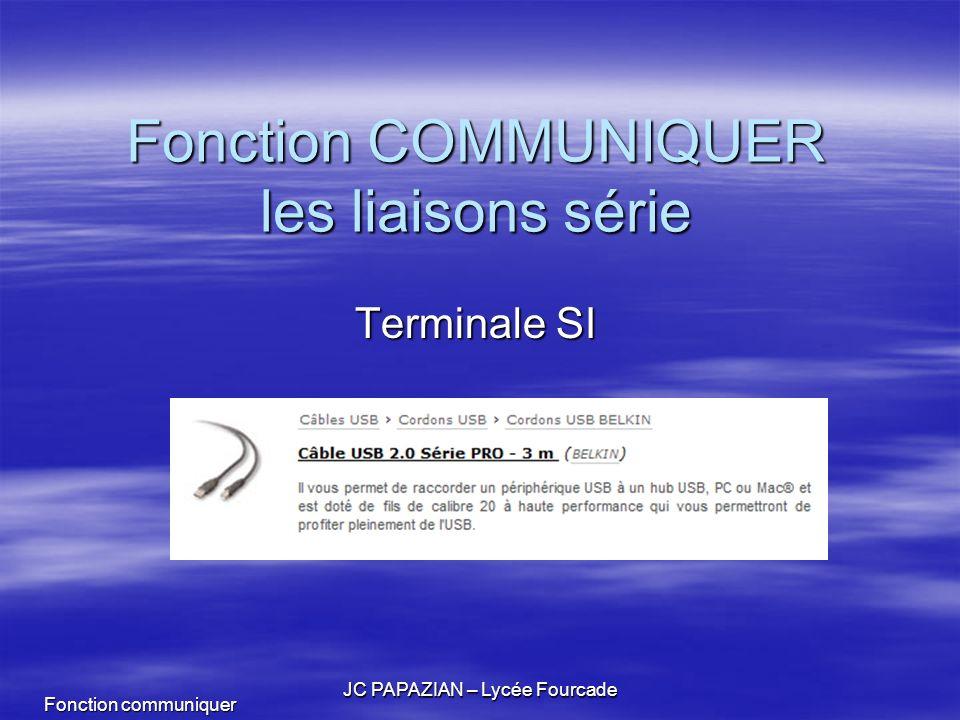Fonction communiquer JC PAPAZIAN – Lycée Fourcade Fonction COMMUNIQUER les liaisons série Terminale SI
