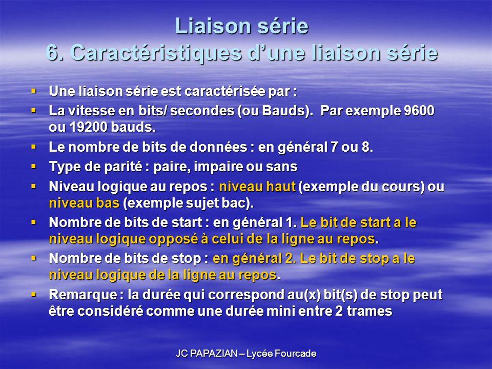 JC PAPAZIAN – Lycée Fourcade Liaison série 6. Caractéristiques dune liaison série Une liaison série est caractérisée par : Une liaison série est carac