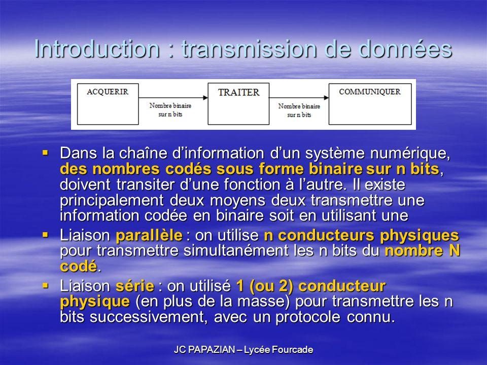 JC PAPAZIAN – Lycée Fourcade Introduction : transmission de données Dans la chaîne dinformation dun système numérique, des nombres codés sous forme bi