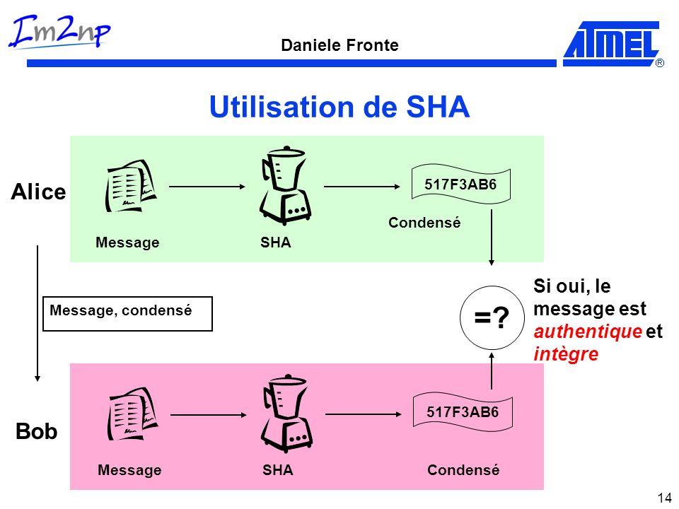 Daniele Fronte 14 Utilisation de SHA MessageSHA 517F3AB6 Condensé Alice Bob Si oui, le message est authentique et intègre Message, condensé MessageSHA 517F3AB6 Condensé =?
