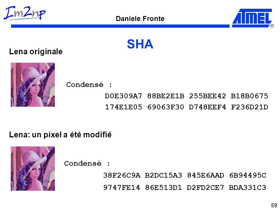 Daniele Fronte 59 SHA Condensé : D0E309A7 88BE2E1B 255BEE42 B18B0675 174E1E05 69063F30 D748EEF4 F236D21D Lena originale Lena: un pixel a été modifié C