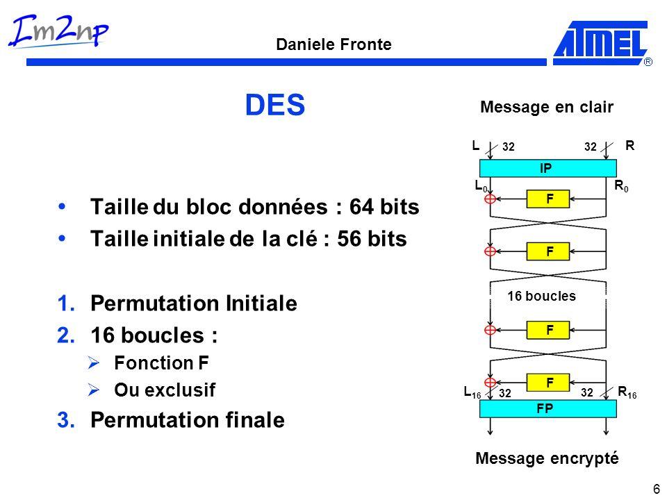 Daniele Fronte 6 DES Taille du bloc données : 64 bits Taille initiale de la clé : 56 bits 1.Permutation Initiale 2.16 boucles : Fonction F Ou exclusif
