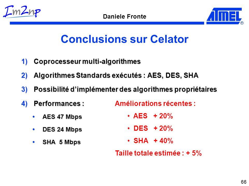 Daniele Fronte 66 Conclusions sur Celator 1)Coprocesseur multi-algorithmes 2)Algorithmes Standards exécutés : AES, DES, SHA 3)Possibilité dimplémenter
