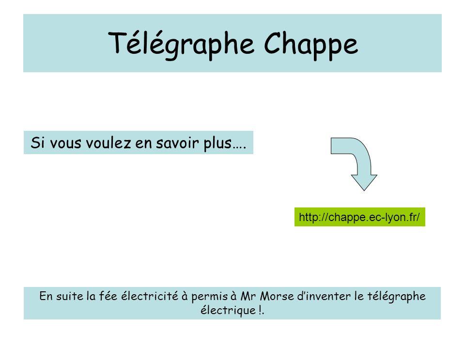 Télégraphe Chappe http://chappe.ec-lyon.fr/ Si vous voulez en savoir plus…. En suite la fée électricité à permis à Mr Morse dinventer le télégraphe él