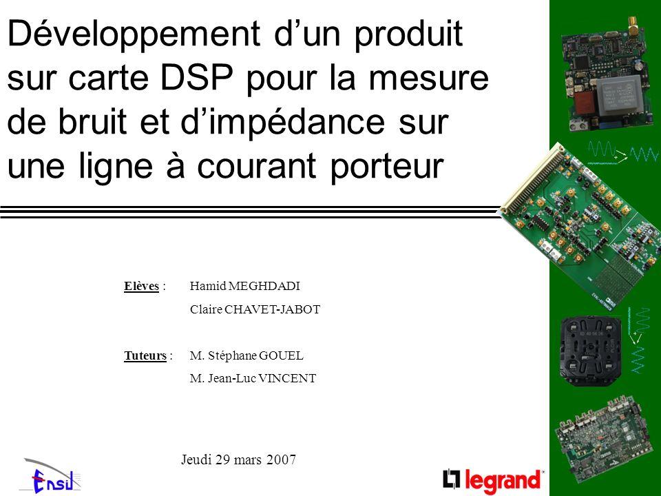 Développement dun produit sur carte DSP pour la mesure de bruit et dimpédance sur une ligne à courant porteur Elèves : Hamid MEGHDADI Claire CHAVET-JA