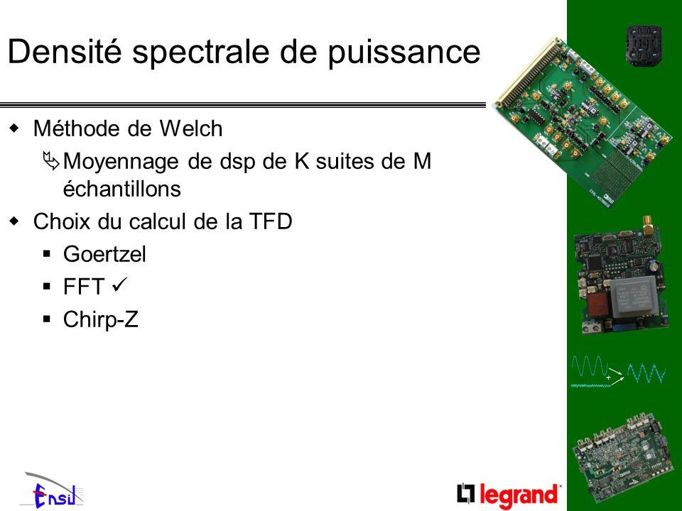 Densité spectrale de puissance Méthode de Welch Moyennage de dsp de K suites de M échantillons Choix du calcul de la TFD Goertzel FFT Chirp-Z