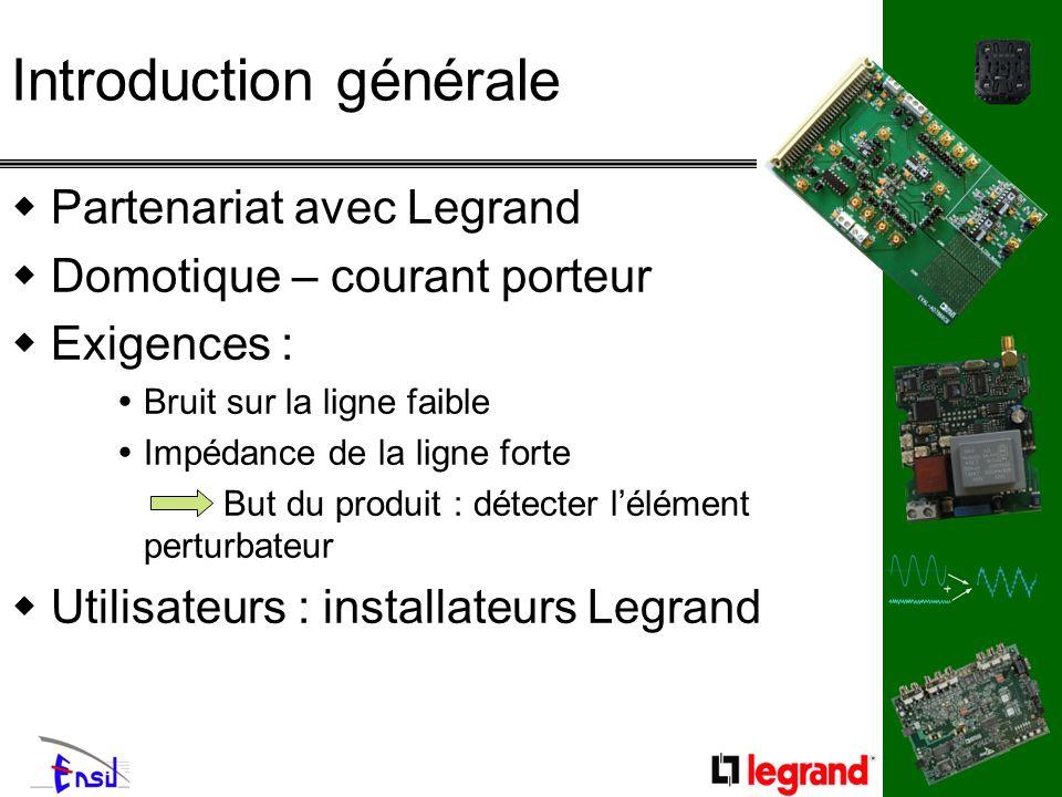 Partenariat avec Legrand Domotique – courant porteur Exigences : Bruit sur la ligne faible Impédance de la ligne forte But du produit : détecter lélém