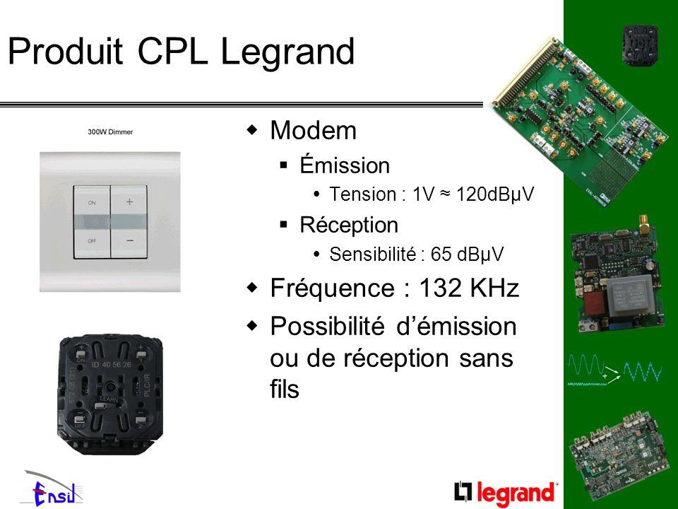 Produit CPL Legrand Modem Émission Tension : 1V 120dBµV Réception Sensibilité : 65 dBµV Fréquence : 132 KHz Possibilité démission ou de réception sans