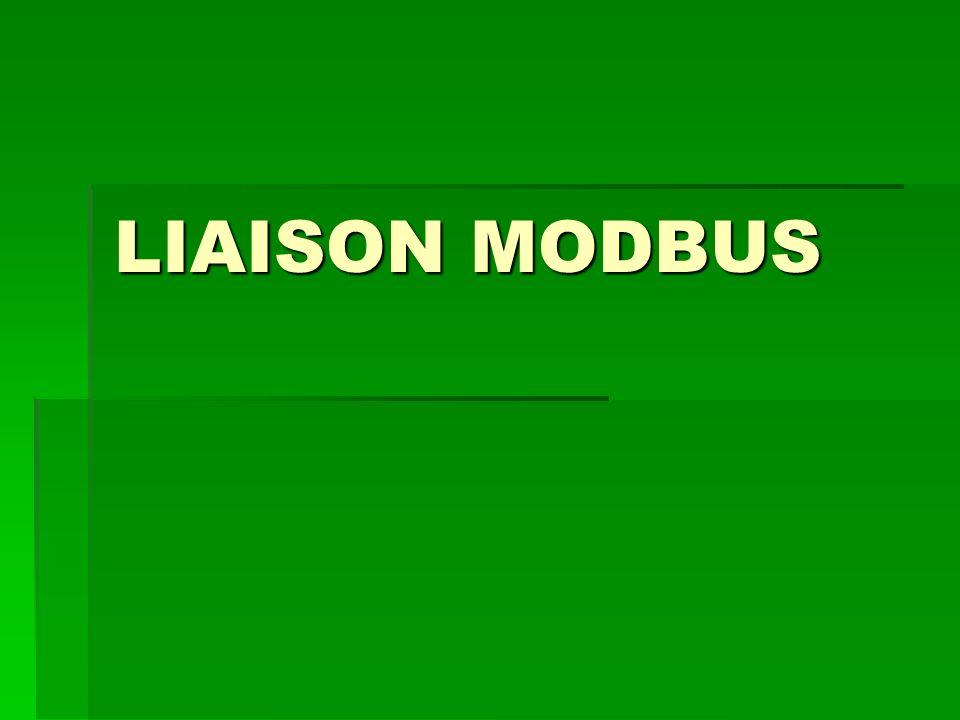 Liaison série MODBUS RS 485 - le maître parle à un esclave et attend sa réponse, - le maître parle à l ensemble des esclaves, sans attente de réponse (diffusion générale).