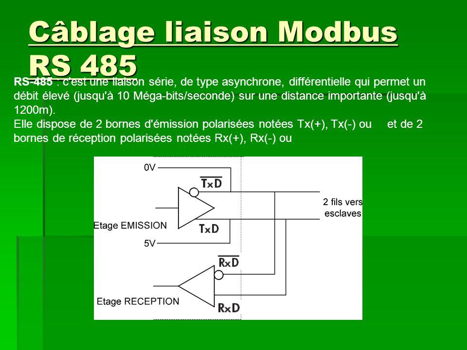 Câblage liaison Modbus RS 485 RS-485 : c est une liaison série, de type asynchrone, différentielle qui permet un débit élevé (jusqu à 10 Méga-bits/seconde) sur une distance importante (jusqu à 1200m).