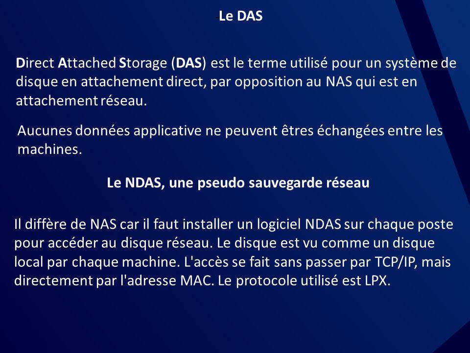 - Le DAS Direct Attached Storage (DAS) est le terme utilisé pour un système de disque en attachement direct, par opposition au NAS qui est en attachement réseau.