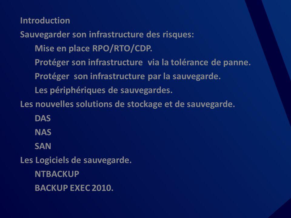 Sommaire Introduction Sauvegarder son infrastructure des risques: Mise en place RPO/RTO/CDP.