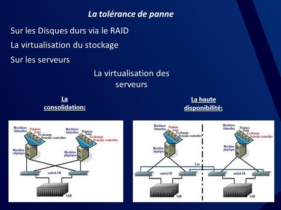 La tolérance de panne Sur les Disques durs via le RAID Sur les serveurs La virtualisation des serveurs La consolidation: La haute disponibilité: La virtualisation du stockage