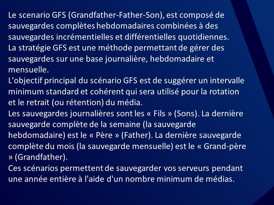 La rotations des medias Le scenario GFS (Grandfather-Father-Son), est composé de sauvegardes complètes hebdomadaires combinées à des sauvegardes incrémentielles et différentielles quotidiennes.