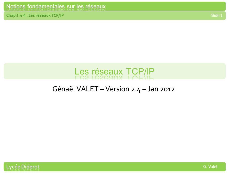 Chapitre 4 : Les réseaux TCP/IPSlide 1 G. Valet Génaël VALET – Version 2.4 – Jan 2012