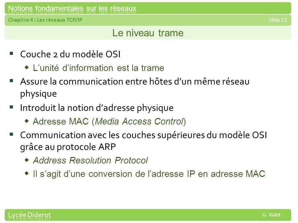 Chapitre 4 : Les réseaux TCP/IPSlide 11 G. Valet Le niveau trame Couche 2 du modèle OSI Lunité dinformation est la trame Assure la communication entre