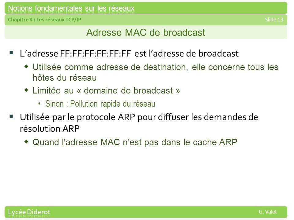 Chapitre 4 : Les réseaux TCP/IPSlide 13 G. Valet Adresse MAC de broadcast Ladresse FF:FF:FF:FF:FF:FF est ladresse de broadcast Utilisée comme adresse