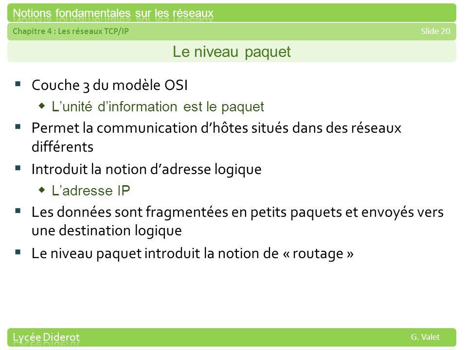 Chapitre 4 : Les réseaux TCP/IPSlide 20 G. Valet Le niveau paquet Couche 3 du modèle OSI Lunité dinformation est le paquet Permet la communication dhô