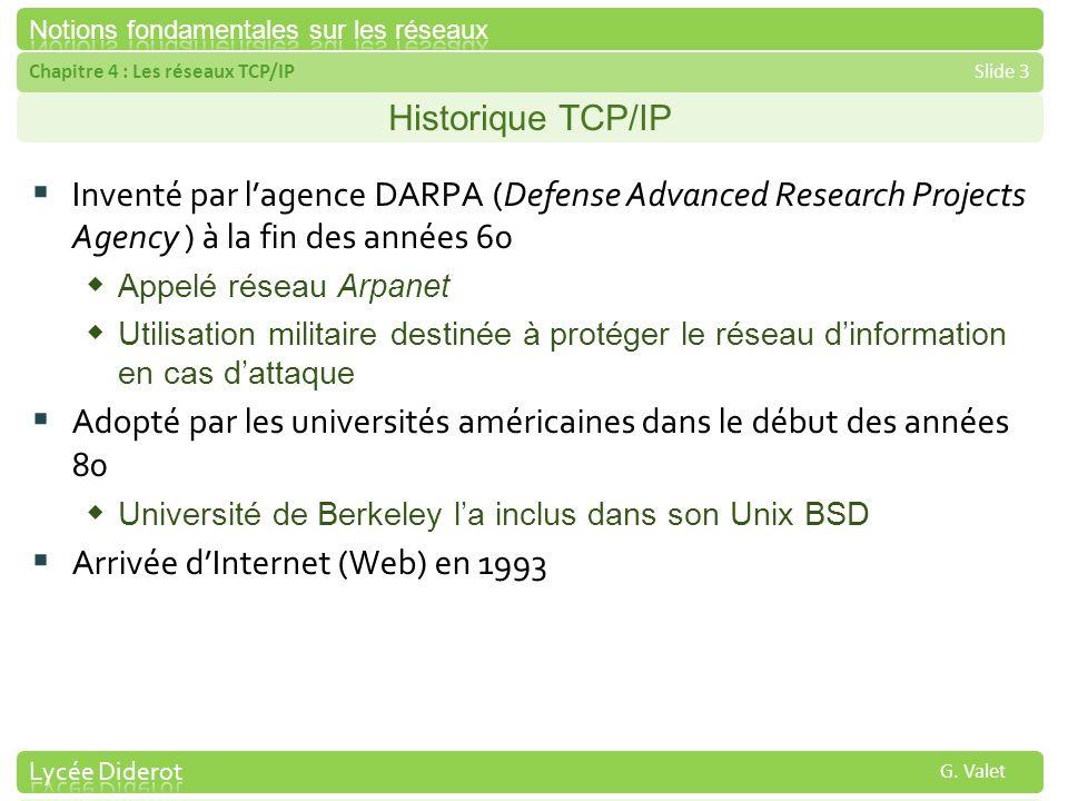Chapitre 4 : Les réseaux TCP/IPSlide 3 G. Valet Historique TCP/IP Inventé par lagence DARPA (Defense Advanced Research Projects Agency ) à la fin des