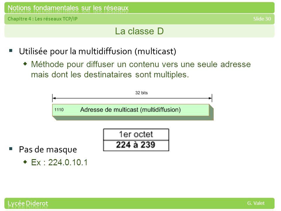 Chapitre 4 : Les réseaux TCP/IPSlide 30 G. Valet La classe D Utilisée pour la multidiffusion (multicast) Méthode pour diffuser un contenu vers une seu