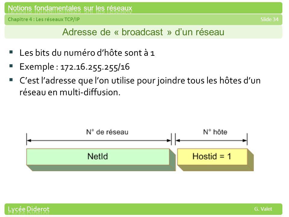 Chapitre 4 : Les réseaux TCP/IPSlide 34 G. Valet Adresse de « broadcast » dun réseau Les bits du numéro dhôte sont à 1 Exemple : 172.16.255.255/16 Ces