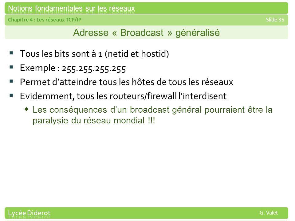 Chapitre 4 : Les réseaux TCP/IPSlide 35 G. Valet Adresse « Broadcast » généralisé Tous les bits sont à 1 (netid et hostid) Exemple : 255.255.255.255 P