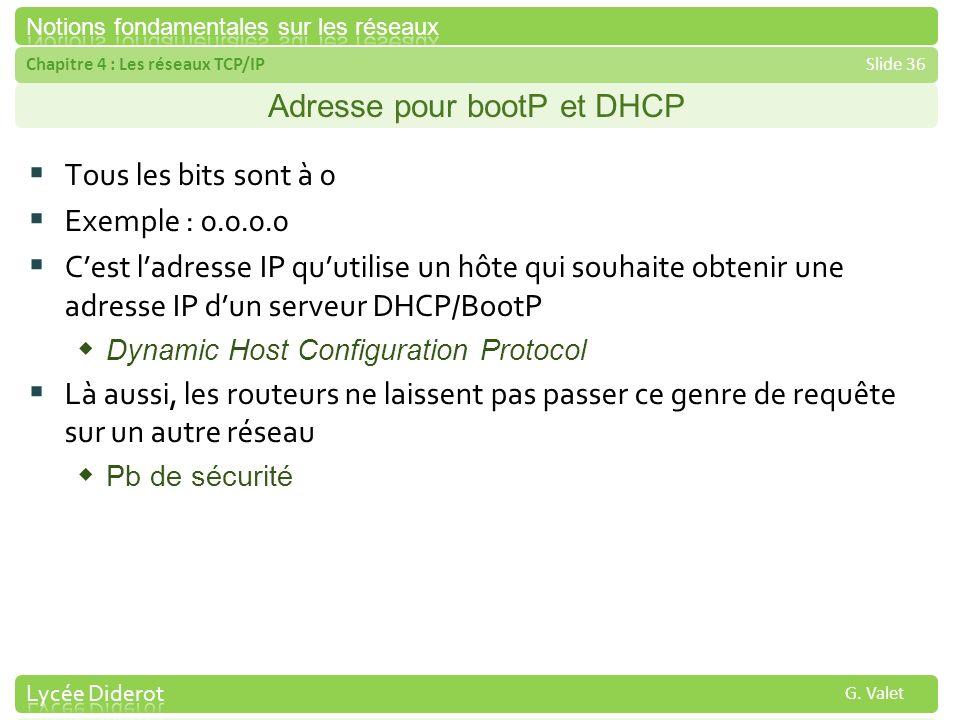 Chapitre 4 : Les réseaux TCP/IPSlide 36 G. Valet Adresse pour bootP et DHCP Tous les bits sont à 0 Exemple : 0.0.0.0 Cest ladresse IP quutilise un hôt