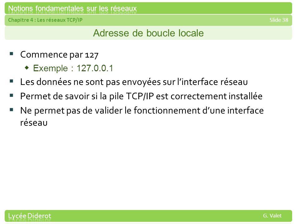 Chapitre 4 : Les réseaux TCP/IPSlide 38 G. Valet Adresse de boucle locale Commence par 127 Exemple : 127.0.0.1 Les données ne sont pas envoyées sur li