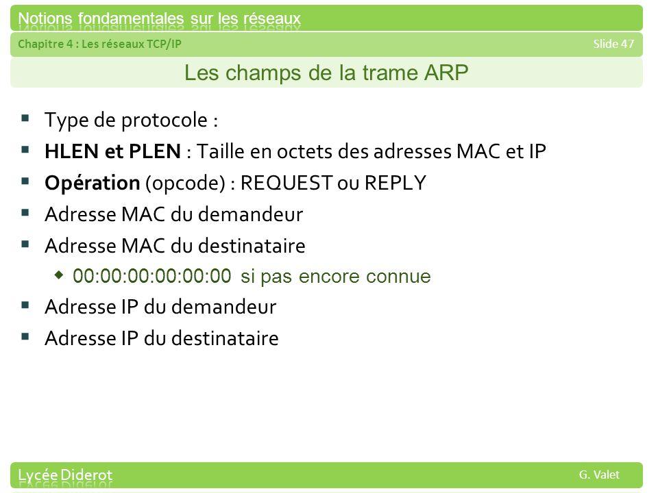 Chapitre 4 : Les réseaux TCP/IPSlide 47 G. Valet Les champs de la trame ARP Type de protocole : HLEN et PLEN : Taille en octets des adresses MAC et IP