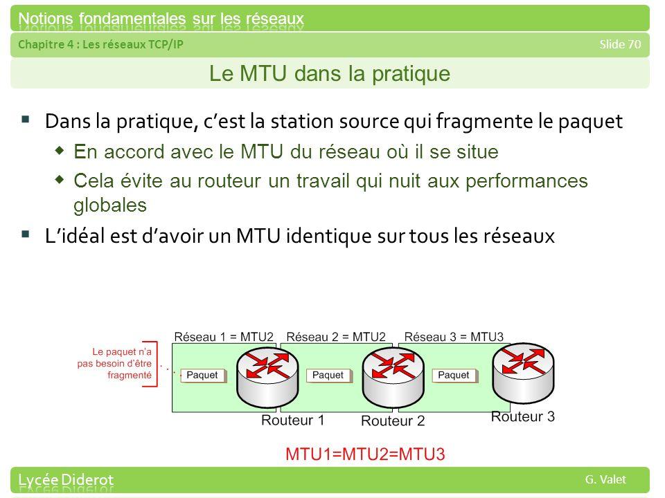 Chapitre 4 : Les réseaux TCP/IPSlide 70 G. Valet Le MTU dans la pratique Dans la pratique, cest la station source qui fragmente le paquet En accord av