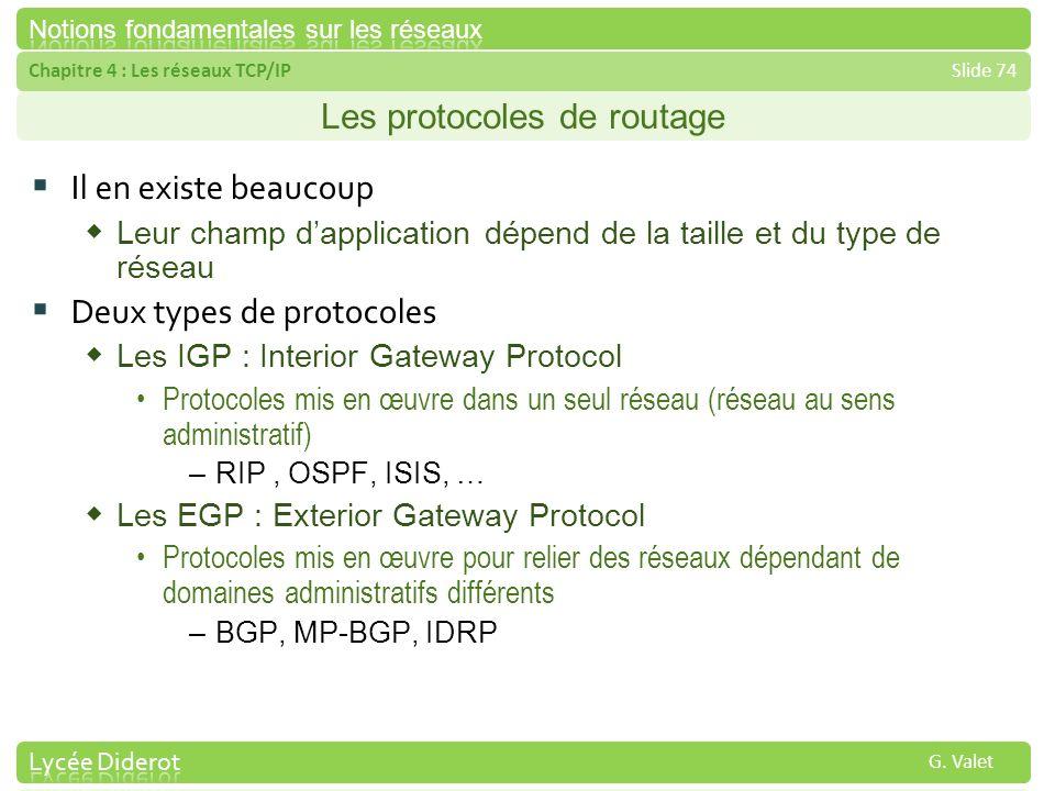 Chapitre 4 : Les réseaux TCP/IPSlide 74 G. Valet Les protocoles de routage Il en existe beaucoup Leur champ dapplication dépend de la taille et du typ