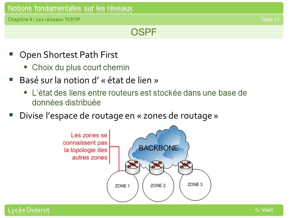 Chapitre 4 : Les réseaux TCP/IPSlide 77 G. Valet OSPF Open Shortest Path First Choix du plus court chemin Basé sur la notion d « état de lien » Létat