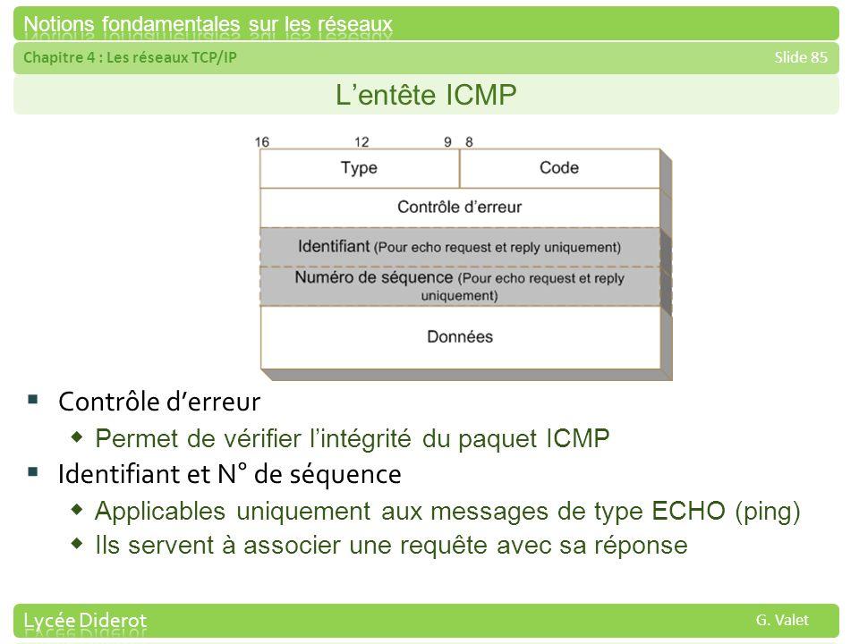 Chapitre 4 : Les réseaux TCP/IPSlide 85 G. Valet Lentête ICMP Contrôle derreur Permet de vérifier lintégrité du paquet ICMP Identifiant et N° de séque