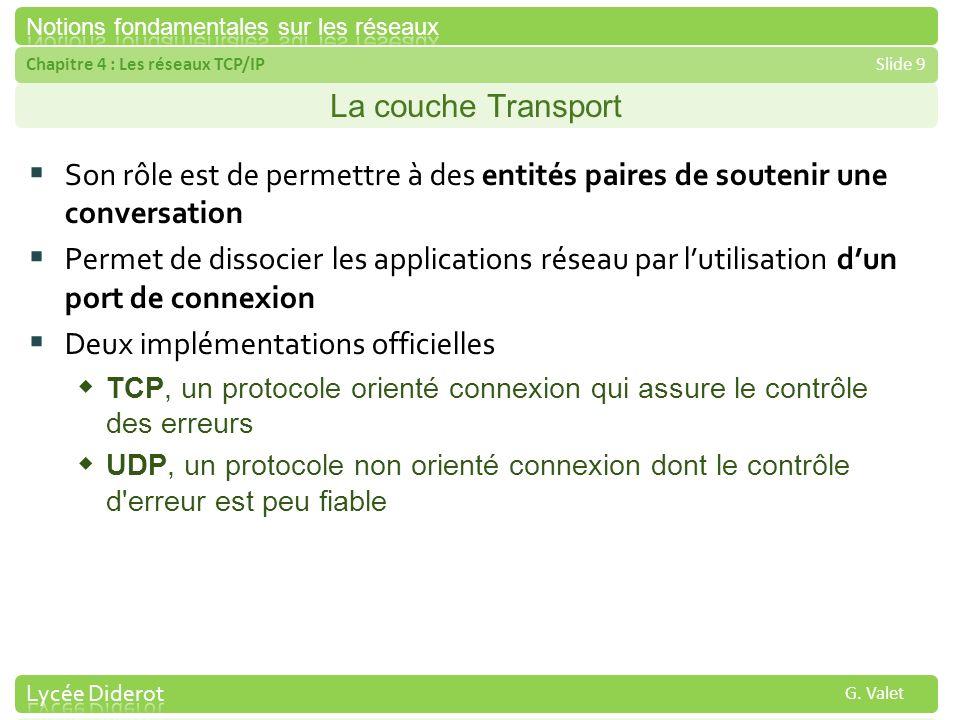 Chapitre 4 : Les réseaux TCP/IPSlide 9 G. Valet La couche Transport Son rôle est de permettre à des entités paires de soutenir une conversation Permet