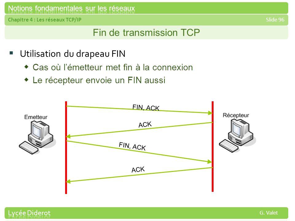 Chapitre 4 : Les réseaux TCP/IPSlide 96 G. Valet Fin de transmission TCP Utilisation du drapeau FIN Cas où lémetteur met fin à la connexion Le récepte