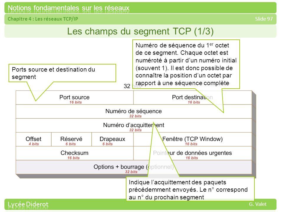 Chapitre 4 : Les réseaux TCP/IPSlide 97 G. Valet Les champs du segment TCP (1/3) Ports source et destination du segment Numéro de séquence du 1 er oct