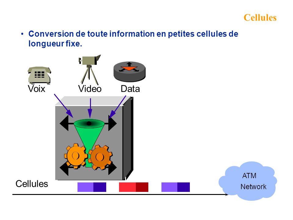Cellules Conversion de toute information en petites cellules de longueur fixe.