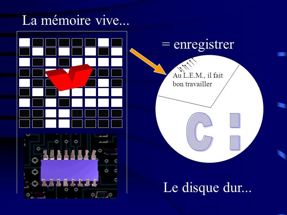 La mémoire vive... Au L.E.M., il fait bon travailler = enregistrer Le disque dur...