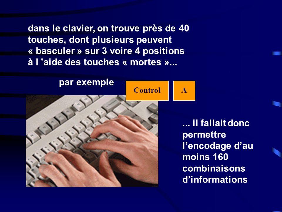 dans le clavier, on trouve près de 40 touches, dont plusieurs peuvent « basculer » sur 3 voire 4 positions à l aide des touches « mortes »...... il fa