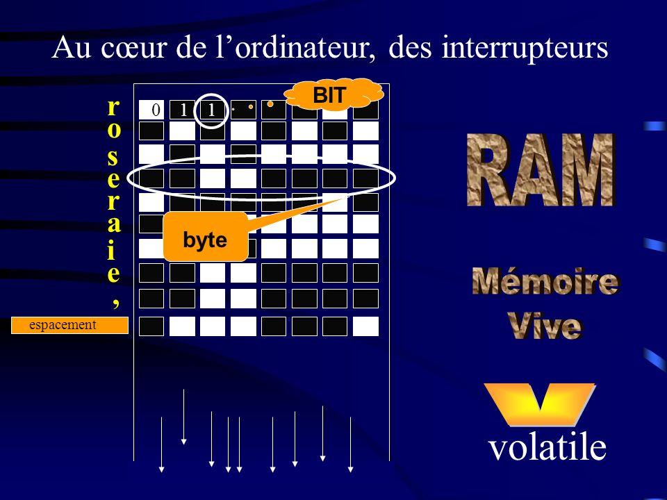 Au cœur de lordinateur, des interrupteurs r o s e r a i e, espacement volatile 110 BIT byte